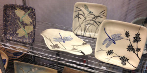 Ceramic plates, bowl with sgraffito dragonfly design