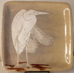 Square stoneware plate with sgraffito carved great egret motif