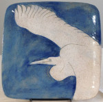 Square stoneware plate with sgraffito carved heron design