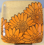 Square stoneware plate with sgraffito carved mums design
