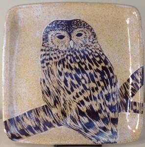 Square stoneware plate with sgraffito carved barred owl motif