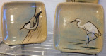Stoneware plates, sgraffito nuthatch, egret