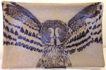 Stoneware platter, sgraffito carved great grey owl design