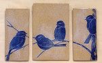 Stoneware triptych tiles, sgraffito carved chickadee motif