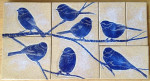 Mosaic wall tiles, sgraffito chickadee design