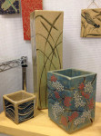 Square stoneware vases, sgraffito blossoms and grasses
