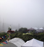 Harbor view in the fog at Camden Harbor Arts Festival 2017